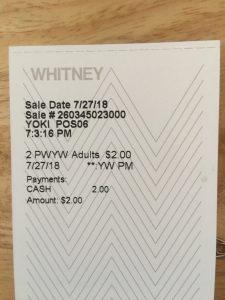 ホイットニー美術館のチケット
