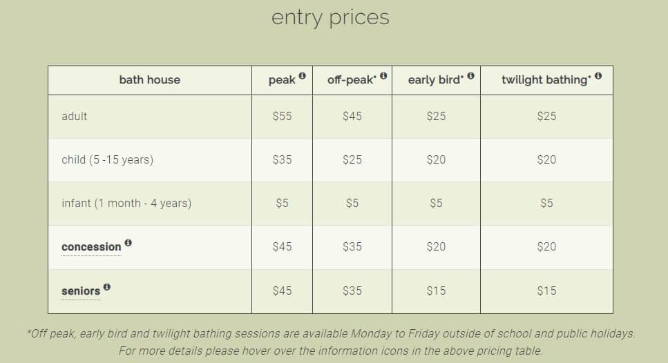 ペニンシュラ温泉価格表